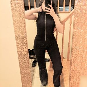 Black 90s Silver Zipper Mock Neck Jumpsuit